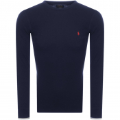 Ralph Lauren Long Sleeved Waffle T Shirt Navy